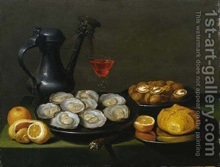 Oysters, walnuts and a bun on a pewter dish by (after) Jacob Foppens Van Es: - Reproduction Oil Painting