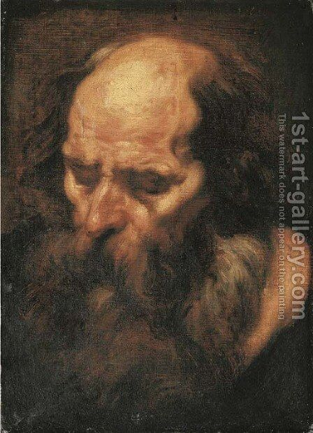 The head of a bearded man by (after) Jacob Jordaens - Reproduction Oil Painting