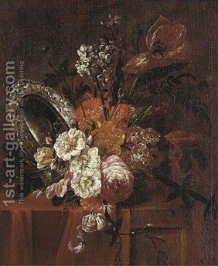Roses, parrot tulips, chrysanthemums, narcissi and other flowers in a vase by (after) Jacobus Melchior Van Herck - Reproduction Oil Painting