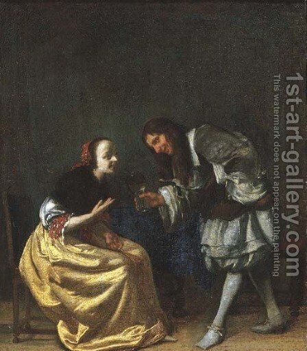 An officer offering a glass of wine to a lady seated by a table in an interior by (after) Jacob Ochtervelt - Reproduction Oil Painting