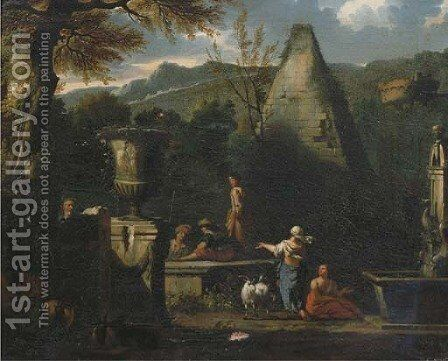 A capriccio landscape with figures resting and conversing near the pyramid of Caius Cestius by (attr.to) Huchtenburg, Jan van - Reproduction Oil Painting