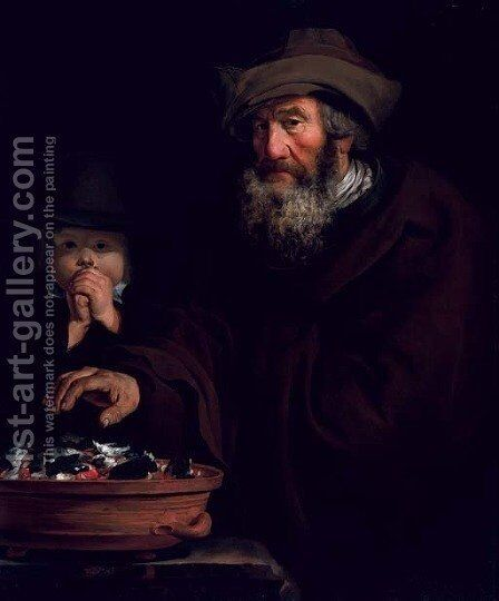 An old man warming his hands over coals by (after) Jacob Cornelisz Van Oostsanen - Reproduction Oil Painting