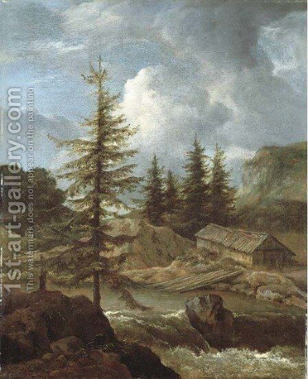 A wooded river landscape with peasants by a woodshed by (after) Jacob Van Ruisdael - Reproduction Oil Painting