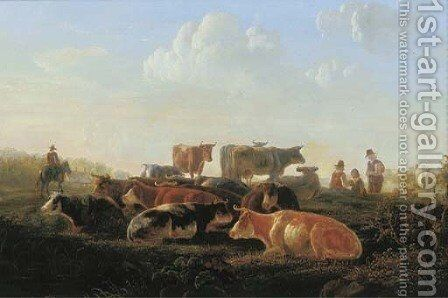 A pastoral landscape with cattle by a river bank, with herdsmen and a horseman by (after) Jacob Van Strij - Reproduction Oil Painting