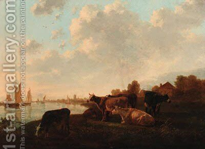 Cattle grazing in a meadow by a canal by (after) Jacob Van Strij - Reproduction Oil Painting