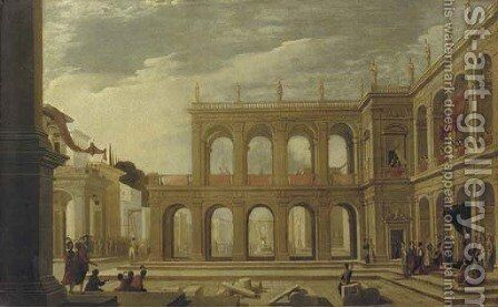 A classical palace with elegant figures in a piazza by (after) Jacobus Saeys - Reproduction Oil Painting