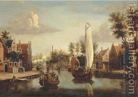 A view of Maarsen, with a ferry and a saling boat on the river Vecht 2 by (after) Jacobus Storck - Reproduction Oil Painting