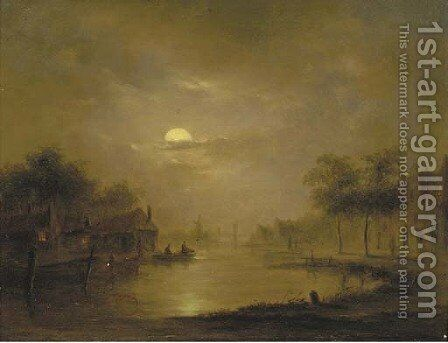 A moonlit river landscape by (after) Jacobus Theodorus Abels - Reproduction Oil Painting