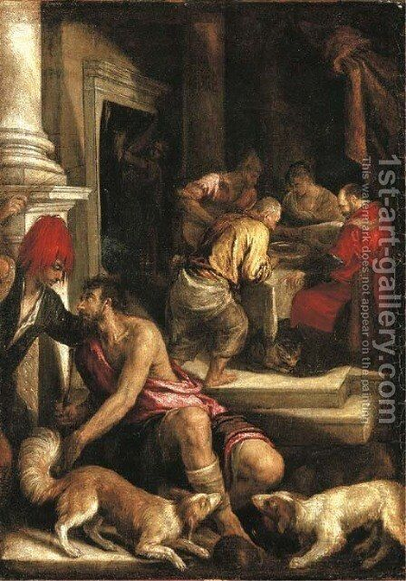 The Parable of Dives and Lazarus by (after) Jacopo Bassano (Jacopo Da Ponte) - Reproduction Oil Painting
