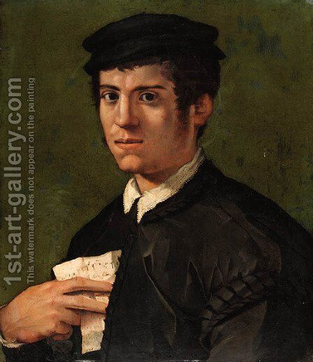 Portrait of a man by (after) Jacopo Di Giovanni Di Francesco, Called Jacone - Reproduction Oil Painting