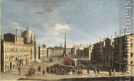 The Piazza Navona, Rome, from the South, with a crowd watching a performance of the commedia dell'arte by (after) Jacopo Fabris - Reproduction Oil Painting