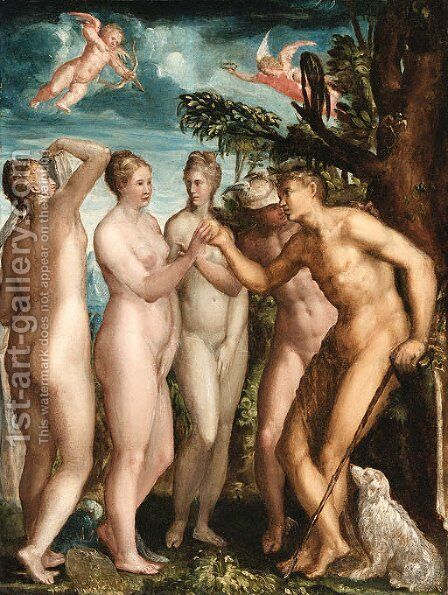 The Judgement of Paris by (after) Jacopo Zanguidi, Called Jacopo Bertoija - Reproduction Oil Painting