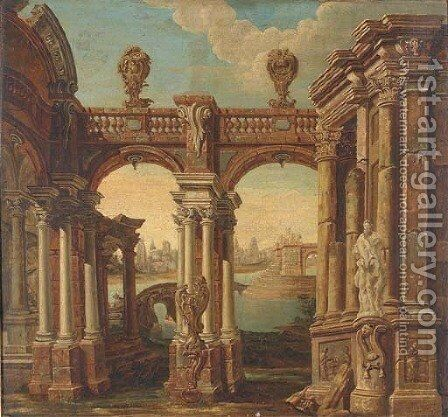 A capriccio of classical buildings with a lake and a town beyond by (after) Jacques De Lajoue - Reproduction Oil Painting