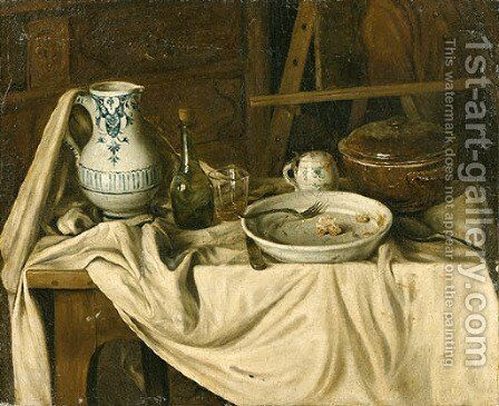 An Artist's Studio with a Meal set out on a partially draped Bench in the foreground by (after) Jacques Albert Senave - Reproduction Oil Painting
