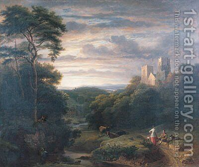 Figures resting in a wooded Valley with a derelict Church on a Hilltop by (after) James Arthur O'Connor - Reproduction Oil Painting