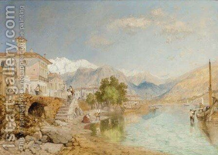 Lake Maggiore at Baveno, Italy by (after) James Baker Pyne - Reproduction Oil Painting