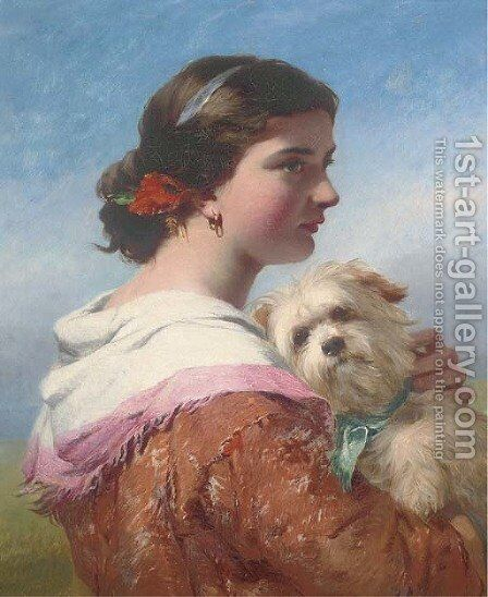 A canine companion by (after) James John Hill - Reproduction Oil Painting