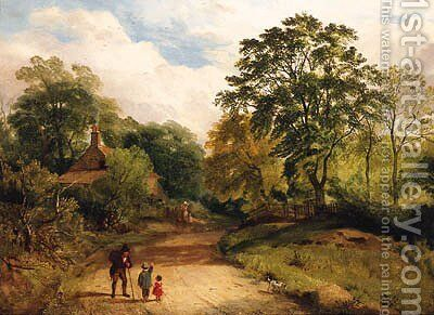A Wayside Conversation by (after) James Peel - Reproduction Oil Painting