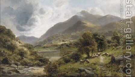 A shepherd with his flock in a lake landscape by (after) James Peel - Reproduction Oil Painting
