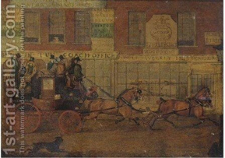 The London to Reading mail coach passing the Bolt-In-Tun General coach office by (after) James Pollard - Reproduction Oil Painting