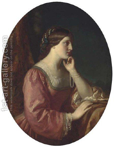 Portrait of the Marchioness of Davenport by (after) James Sant - Reproduction Oil Painting