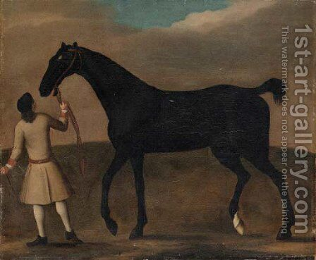 A racehorse held by a groom by (after) James Seymour - Reproduction Oil Painting