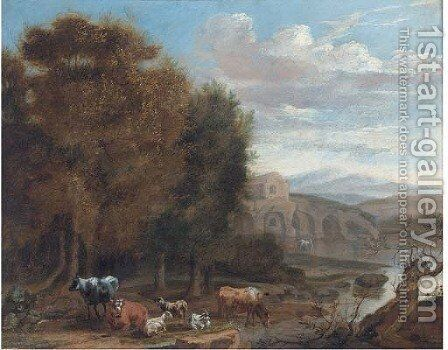Cattle and goats resting by a lake by (after) James Stark - Reproduction Oil Painting