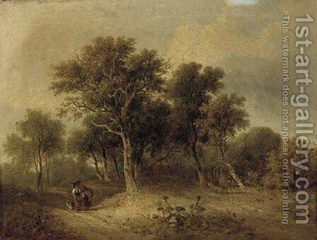 Travellers on a wooded track by (after) James Stark - Reproduction Oil Painting