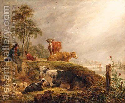 Herdsmen With Cattle And Sheep Resting By A River by (after) James Ward - Reproduction Oil Painting