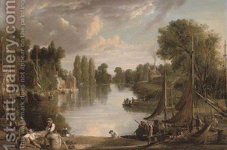 A river landscape at dusk, with figures unloading a barge in the foreground by (after) James Webb - Reproduction Oil Painting