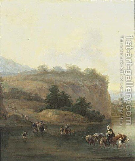 An Italianate landscape with muleteers crossing a river by (after) Jan Asselyn - Reproduction Oil Painting