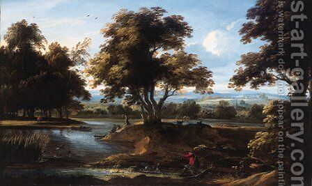 A sportsman shooting duck by a river, in summer by (after) Jan Baptist Wans - Reproduction Oil Painting
