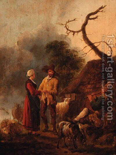 A couple dancing to a piper outside a cottage by (after) Jan Baptist Wolfert - Reproduction Oil Painting