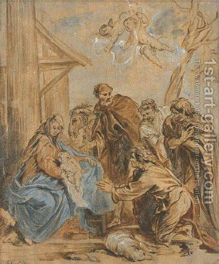 The Adoration of the Shepherds by (after) Jan Van Boeckhorst - Reproduction Oil Painting