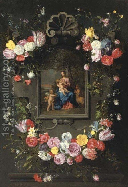 The Madonna and Child with Saint John the Baptist and an angel surrounded by a garland of mixed flowers by (after) Jan The Elder Brueghel - Reproduction Oil Painting