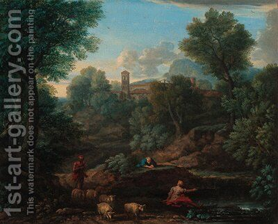 A landscape with a shepherd and sheep at a stream, a village beyond by (after) An Frans Van Orizzonte (see Bloemen) - Reproduction Oil Painting