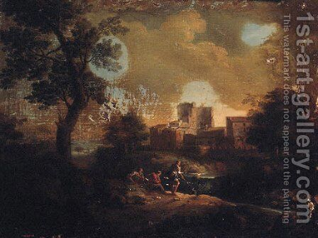 An Italianate landscape with travellers on a path overlooking a villa on a river by (after) An Frans Van Orizzonte (see Bloemen) - Reproduction Oil Painting