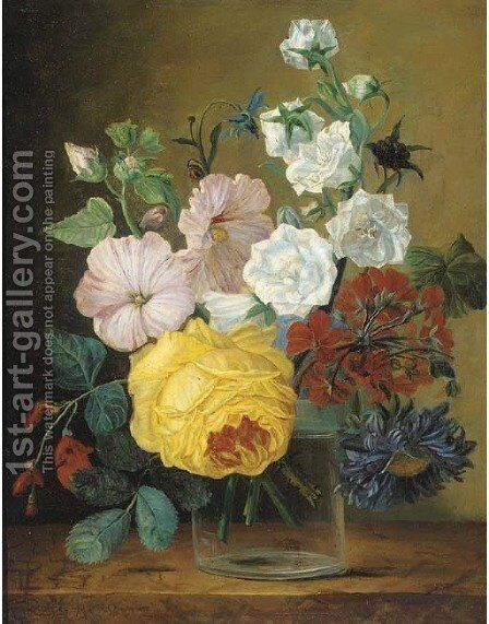 Mixed flowers in a glass vase on a ledge by (after) Jan Frans Van Dael - Reproduction Oil Painting