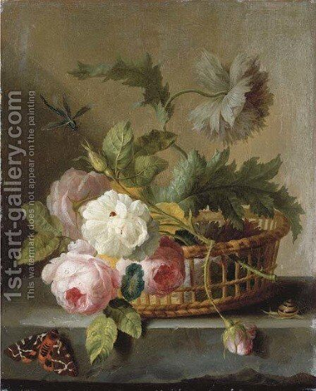 Roses and morning glory in a basket on a stone ledge by (after) Jan Frans Van Dael - Reproduction Oil Painting