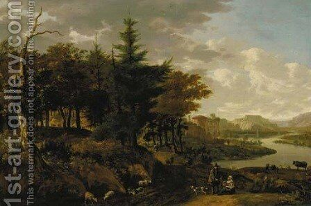 A wooded river landscape with a goatherd, travellers and ruins beyond by (after) Jan Gabrielsz. Sonje - Reproduction Oil Painting