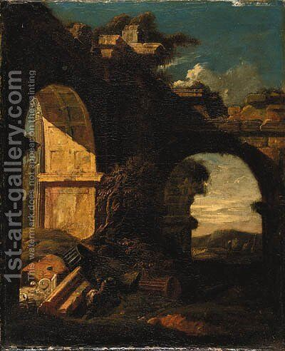Classical ruins in a landscape by (after) Jan Griffier - Reproduction Oil Painting