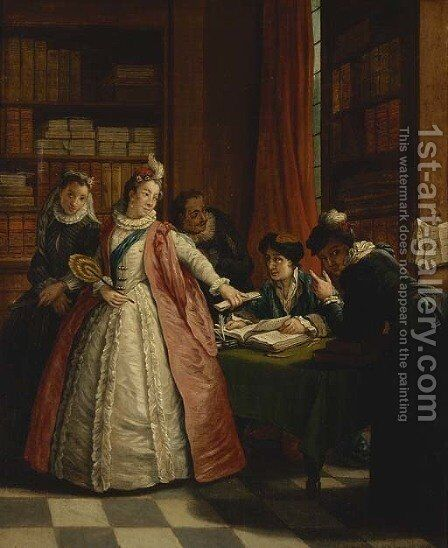 Elegant ladies at a lawyers office by (after) Jan Jozef, The Younger Horemans - Reproduction Oil Painting
