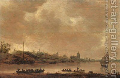 A view of Arnhem from the south with a ferry and shipping on the Rhine in the foreground by (after) Jan Van Goyen - Reproduction Oil Painting