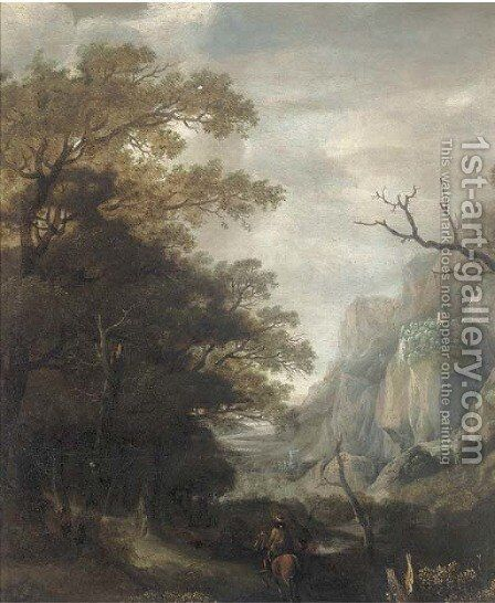 A mountainous landscape with a horseman on a wooded track by (after) Jan Looten - Reproduction Oil Painting