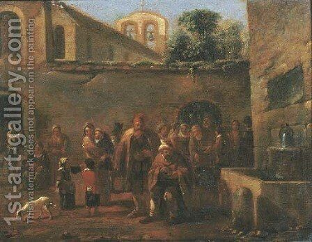 The courtyard of a monastery with monks feeding the poor by a fountain by (after) Jan Miel - Reproduction Oil Painting