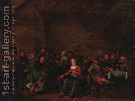 Peasants merrymaking in a tavern by (after) Jan Miense Molenaer - Reproduction Oil Painting