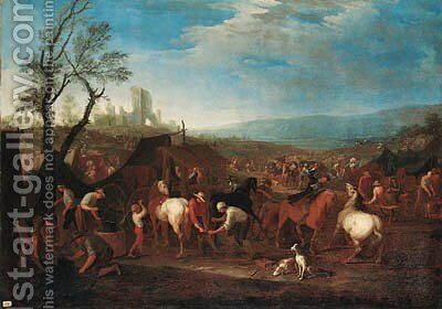 A military encampment with a blacksmith and farriers in an extensive landscape by (after) Jan Peeter Verdussen - Reproduction Oil Painting