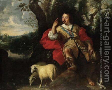 Pastoral portrait of a gentleman as a shepherd by (after) Jan Thomas Van Yperen - Reproduction Oil Painting