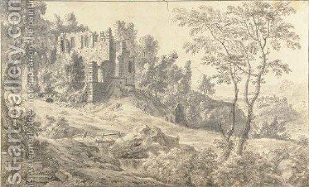 A ruined church in a wooded landscape by (after) Jan Van De Capelle - Reproduction Oil Painting