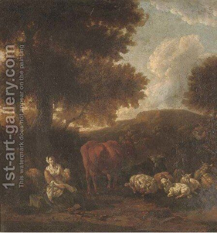 A wooded landscape with herdsmen and cattle resting by (after) Jan Van Der Bent - Reproduction Oil Painting